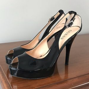 Guess Black Patent Leather Cutout Heels